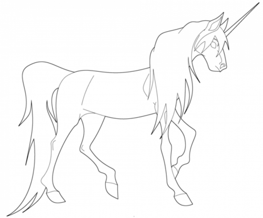 Young Unicorn coloring page