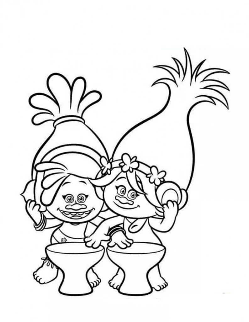 DJ Suki and Poppy Trolls Coloring Page