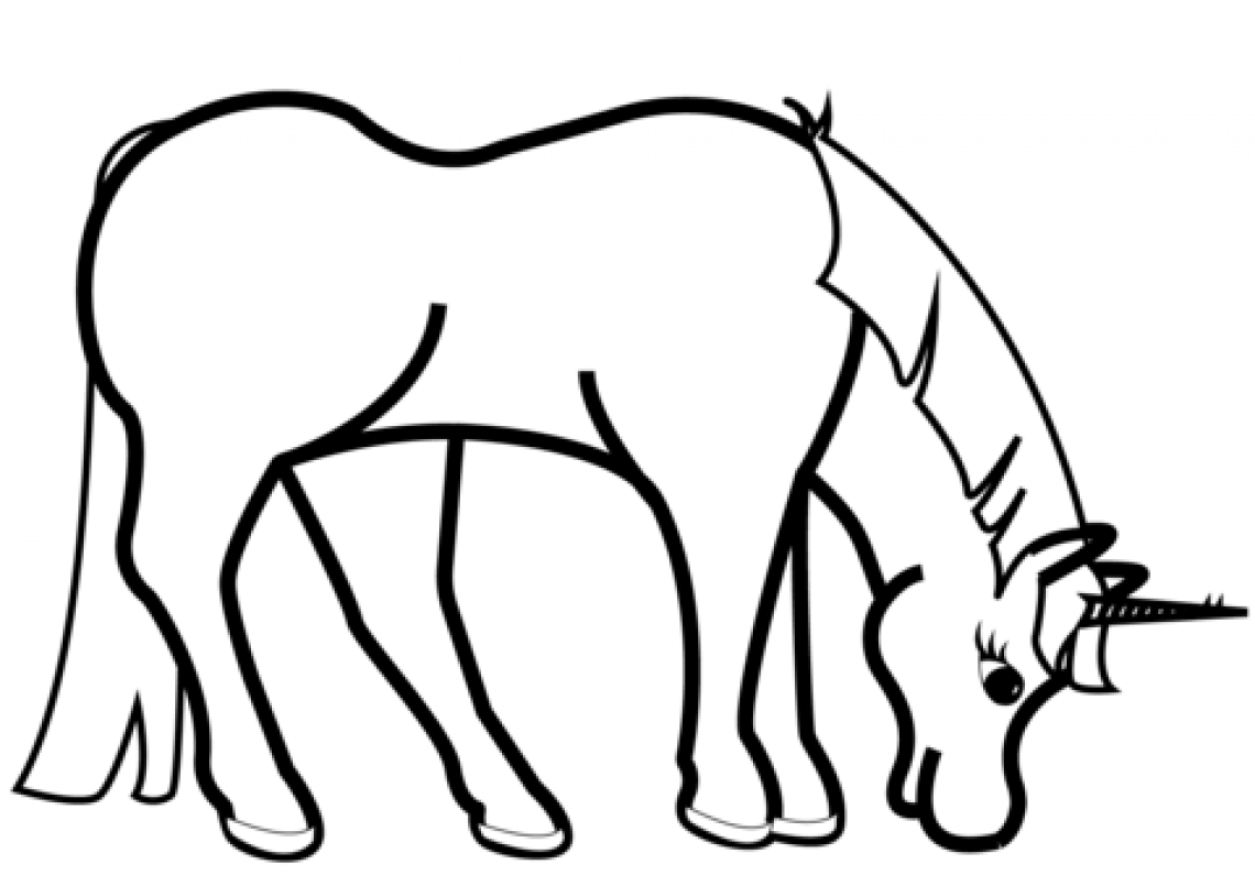 Grazing Unicorn coloring page
