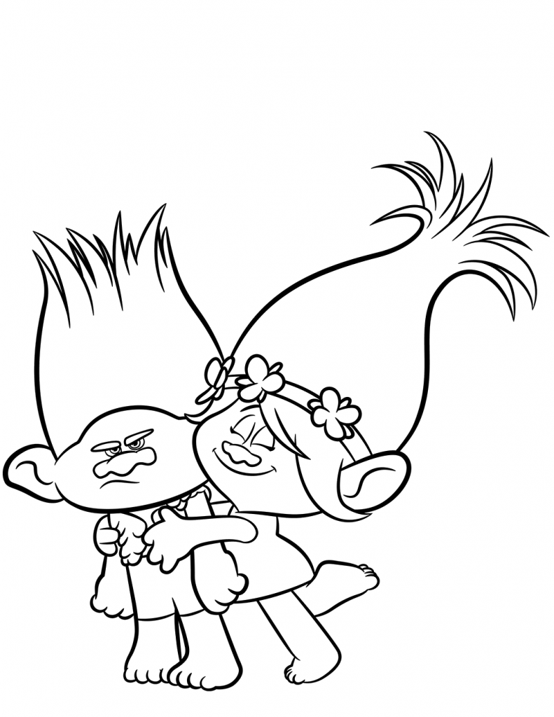 Branch and Poppy Trolls Coloring Page