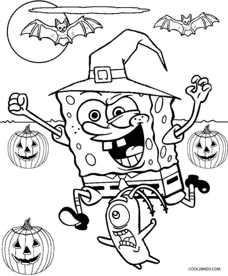 Spongebob and Friends Celebrating Halloween Coloring Page