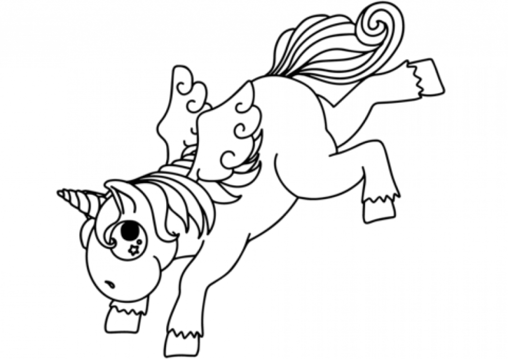 Bucking Cartoon Unicorn coloring page
