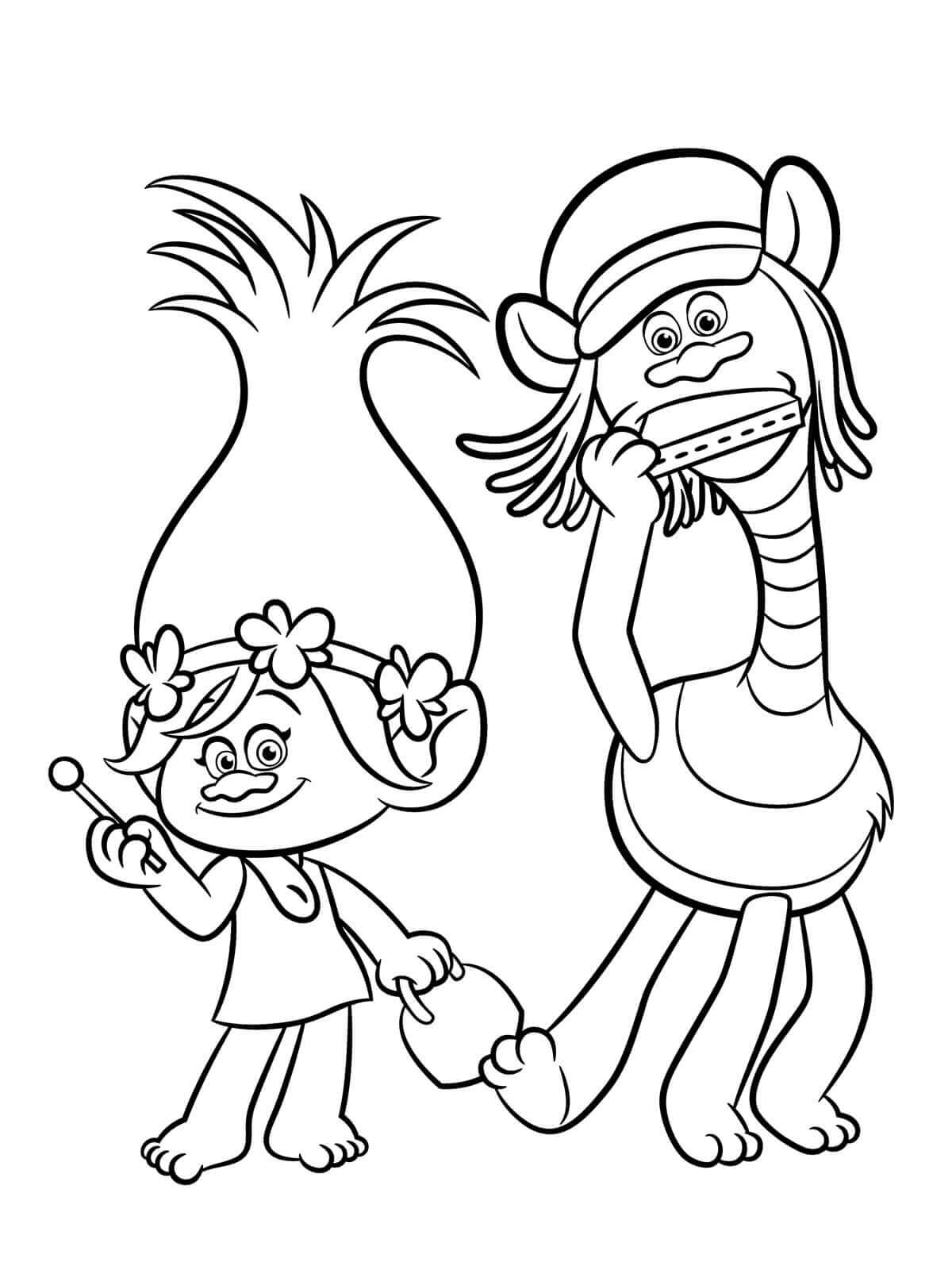 30 printable trolls movie coloring pages for Branch and poppy coloring pages