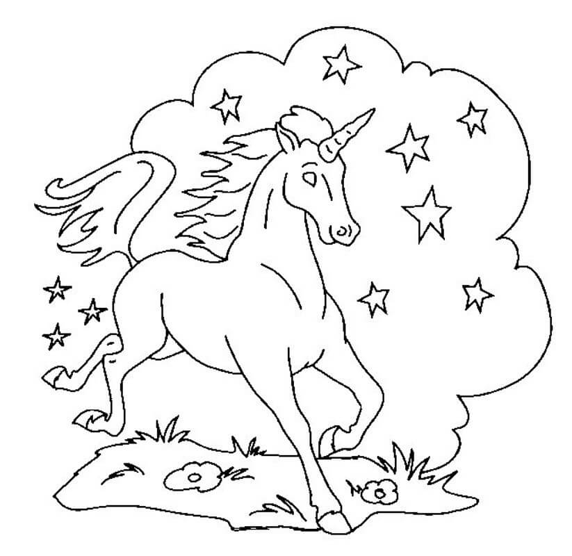Sparkling Unicorn coloring page