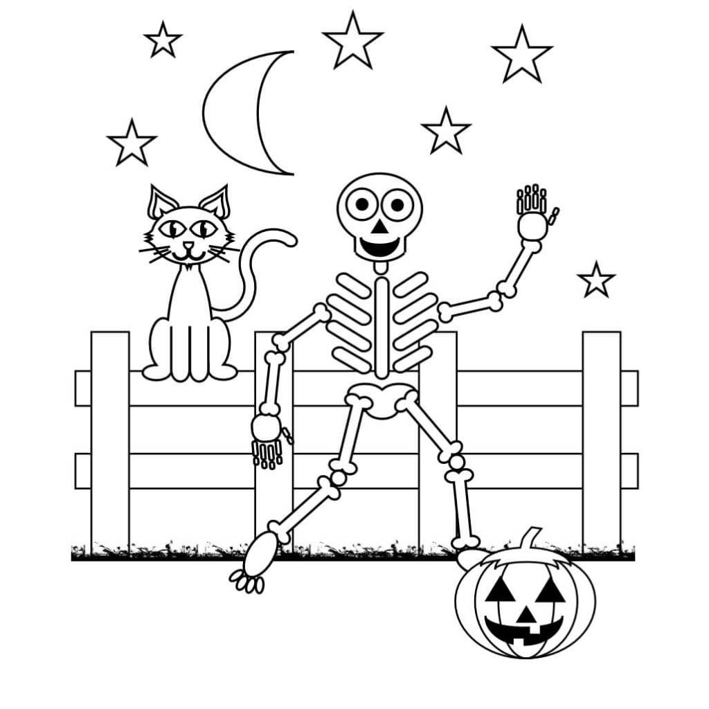 Skeleton Halloween Coloring Pages