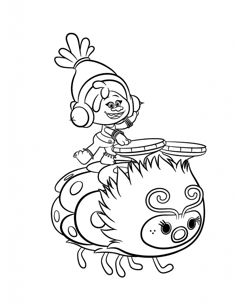 DJ Suki Trolls Movie Coloring Page