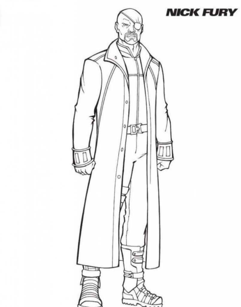 Superhero Nick Fury: Coloring Pages