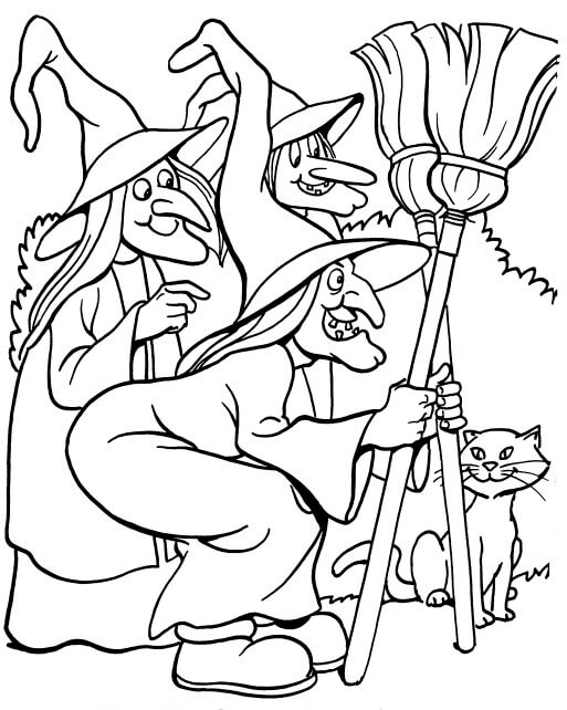 Three Witches Halloween Coloring Pages