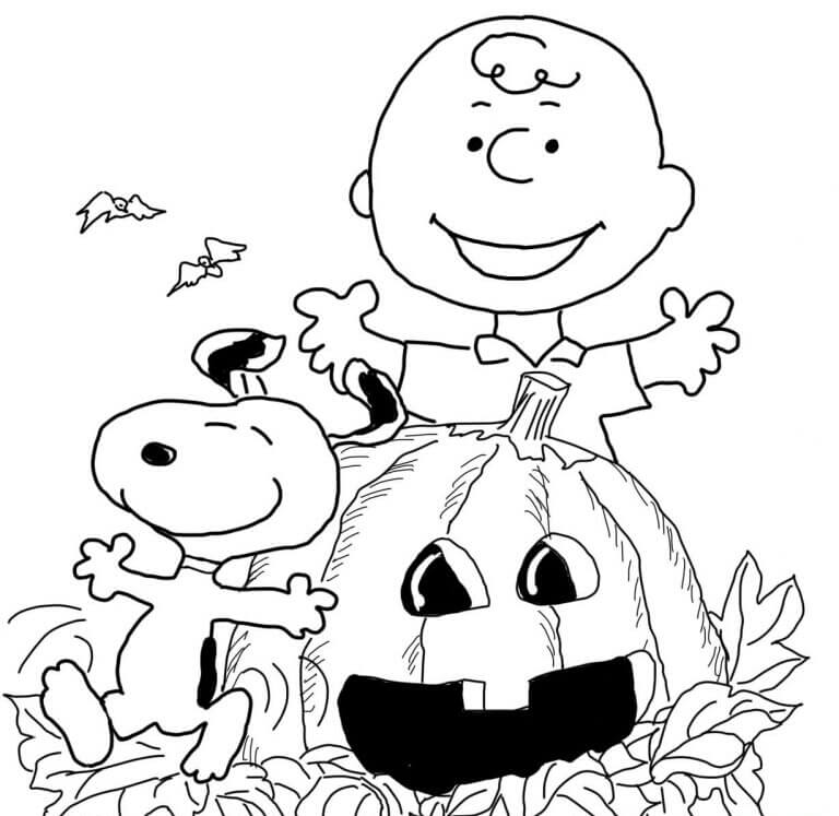 Charlie Brown On Halloween Coloring Page