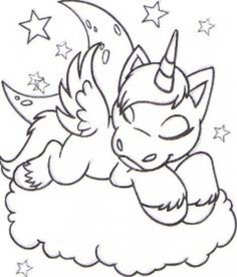 Sleeping Unicorn coloring page