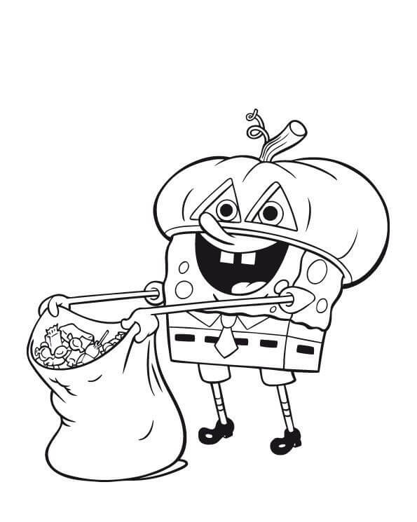 Halloween Candies By SpongeBob Coloring Page