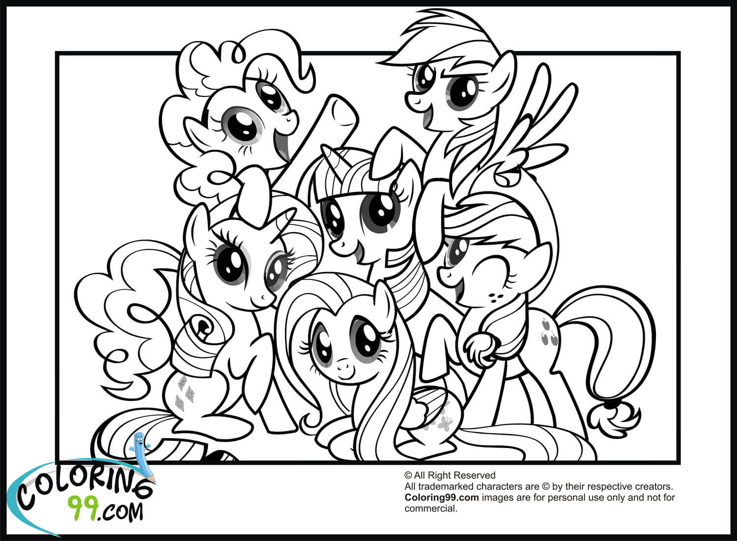 The mane six coloring page
