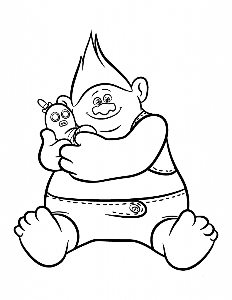 Biggie Trolls Movie Coloring Page