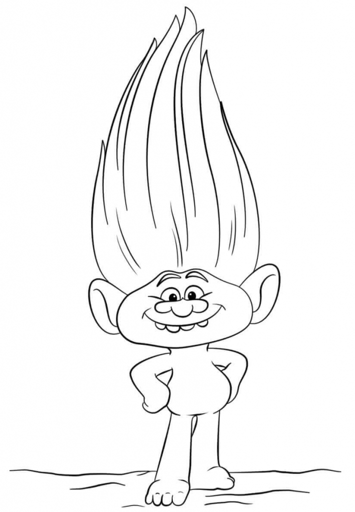 Guy Diamond Trolls Movie Coloring Page