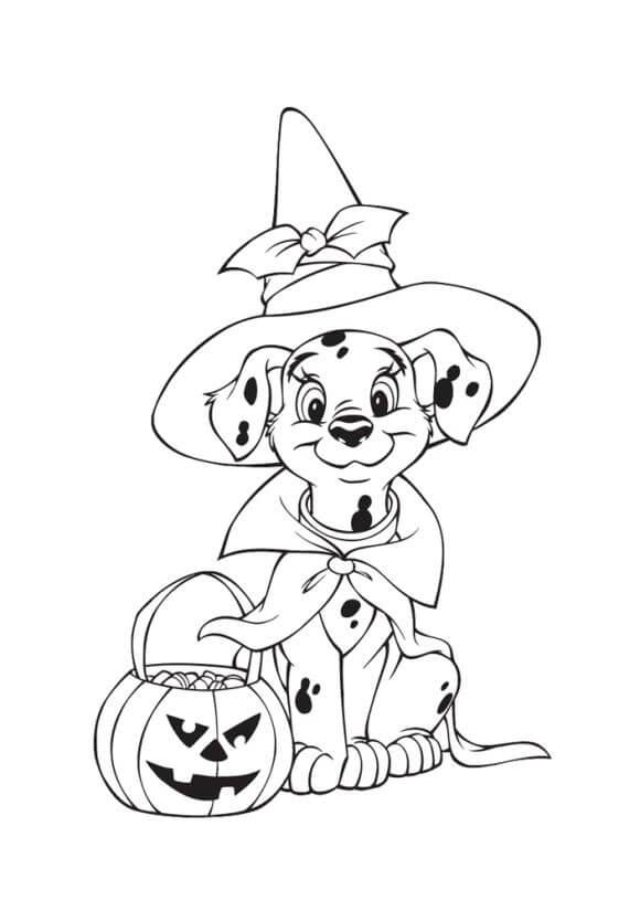 01 Dalmatian Halloween Coloring Page