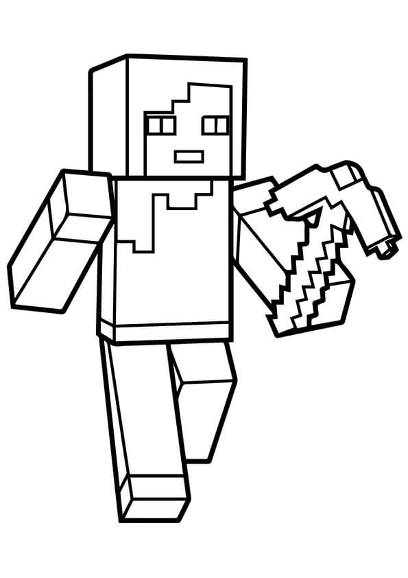 minecraft alex coloring page