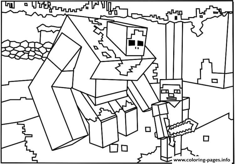 Minecraft Big White Guy Coloring Page