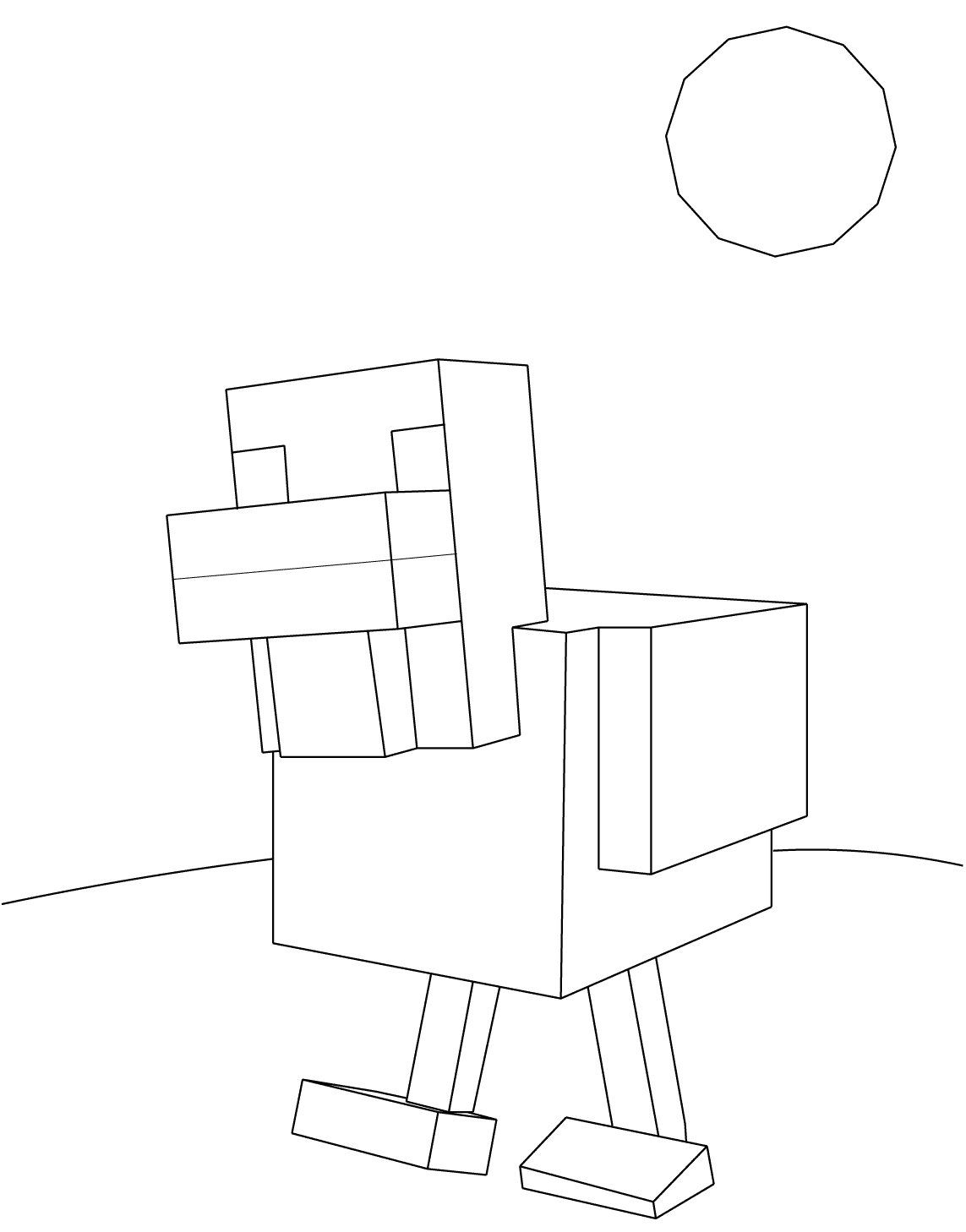 Minecraft Chicken Coloring Page