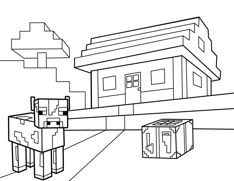 Minecraft Cow With House Coloring Page