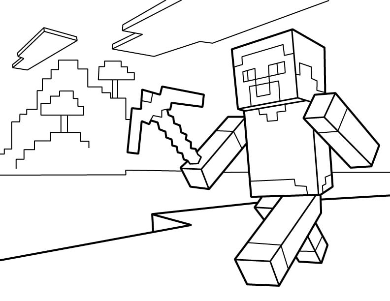 Minecraft Steve With Pickaxe Coloring Page