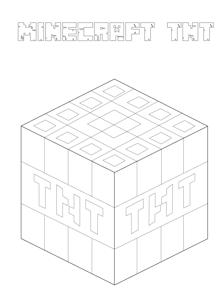 Minecraft TNT Coloring Page