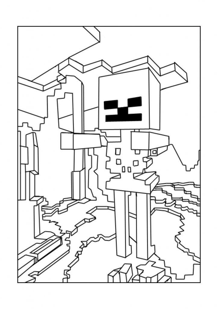 Minecraft Wither Skeleton Coloring Page