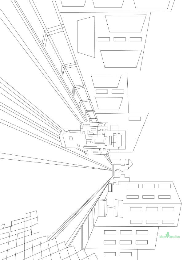 Minecraft World Coloring Page