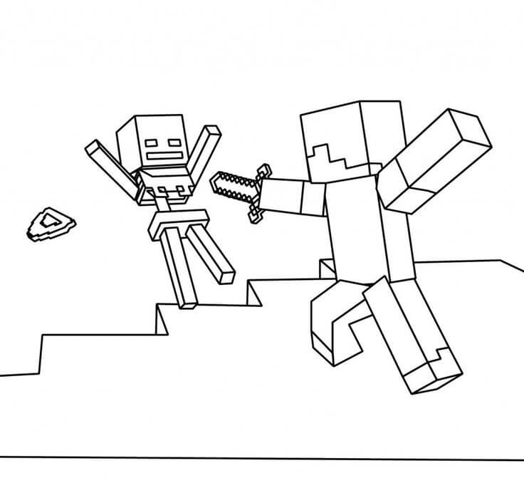 Steve Defeating Wither Skeleton