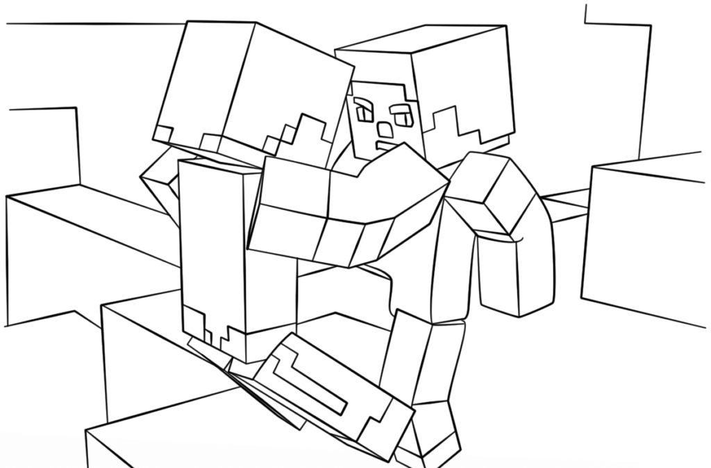 The Fight Scene Minecraft Coloring Pages