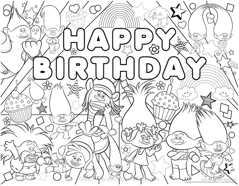 Dibujos Sin Colorear Dibujos De Personajes De Trolls Para: 30 Printable Trolls Movie Coloring Pages