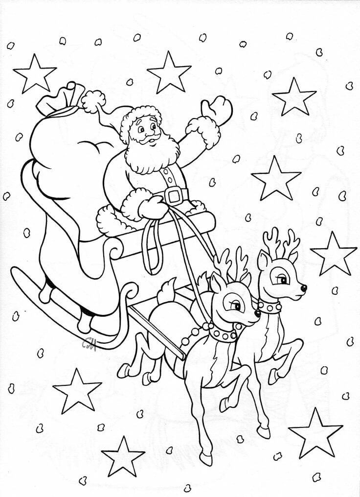Santa and Rudolf Christmas Coloring Pages