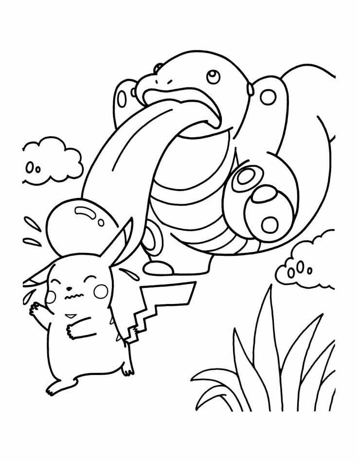 Pikachu got a new friend pokemon lickitung and pikachu coloring pages