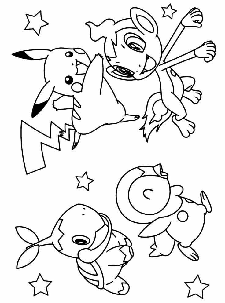 Chimchar, Pikachu, Turtwig, and Piplup Pokemon Coloring Pages