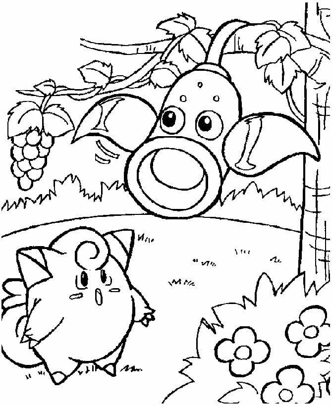 Weepinbell And Clefairy Pokemon Coloring Pages