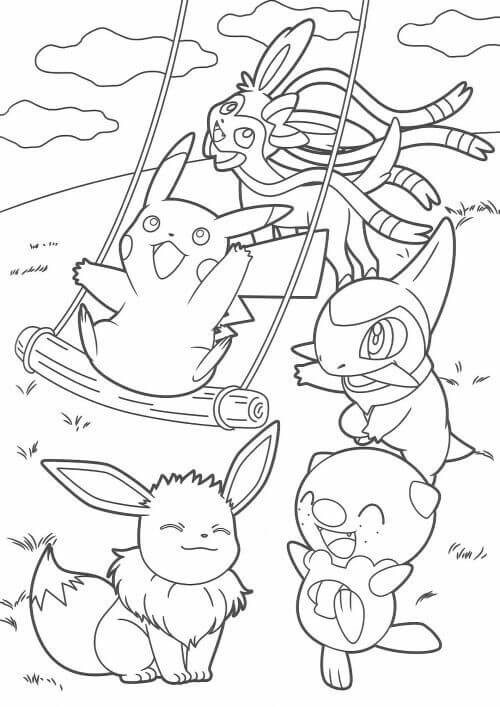 Mr Mime, Pikachu, Pokemon Coloring Pages
