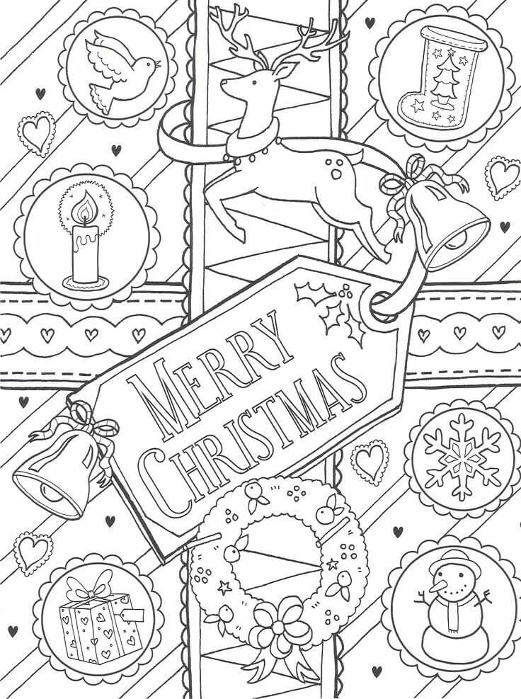 Merry Christmas Greeting Card Coloring Pages