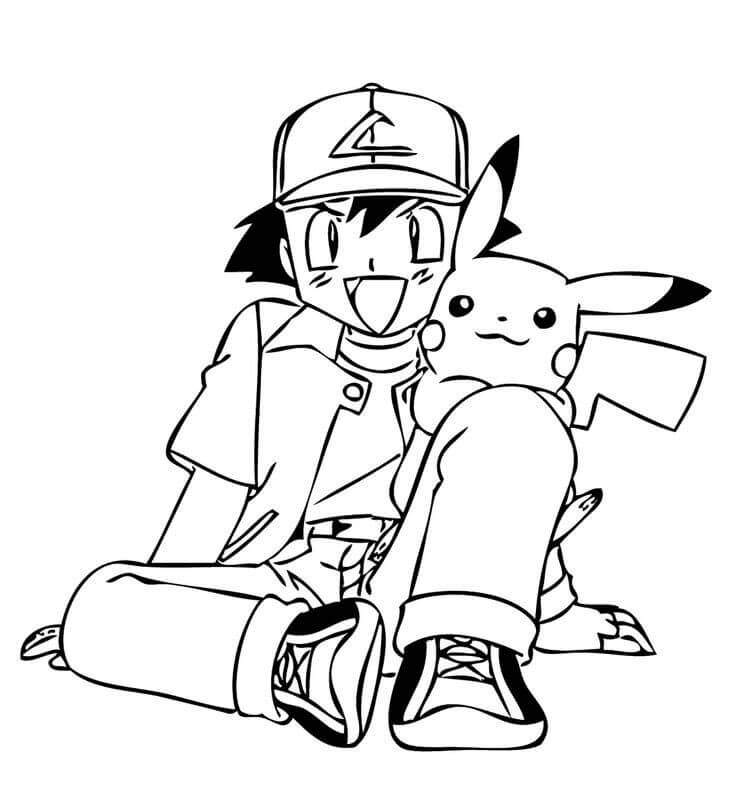 Ash And Pikachu Pokemon Coloring Pages