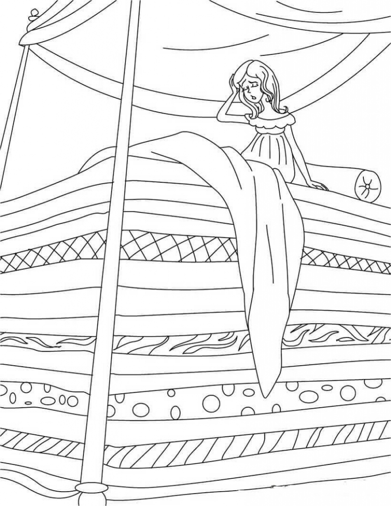 Princess and the pea Coloring Page