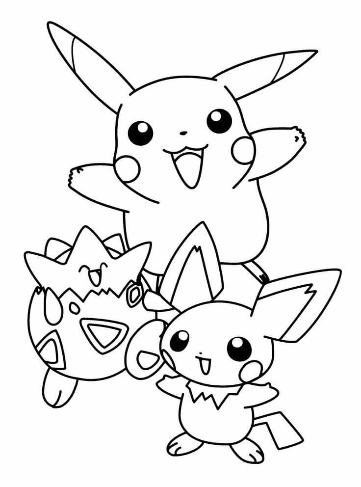 Pokemon Pikachu, Togepi And Pichu Coloring Pages