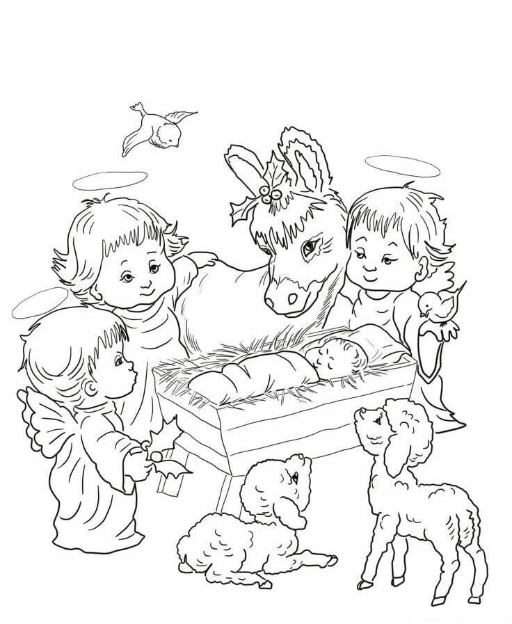 Nativity Play Christmas Coloring Pages