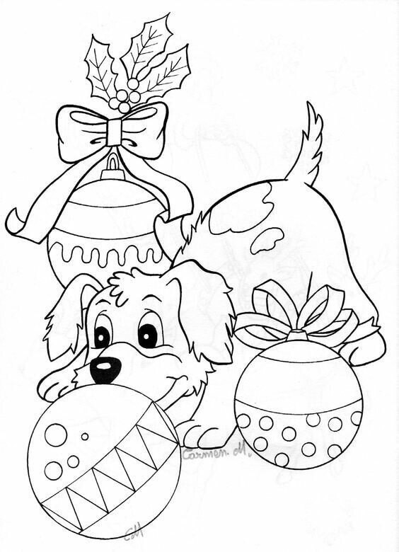 coloring pages dogs christmas - photo#10