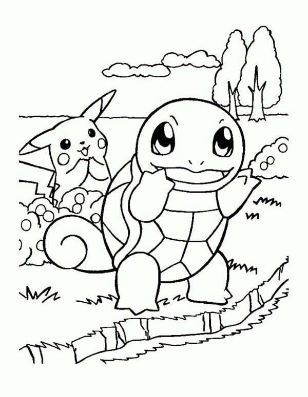 Squirtle and pikachu pokemon coloring pages