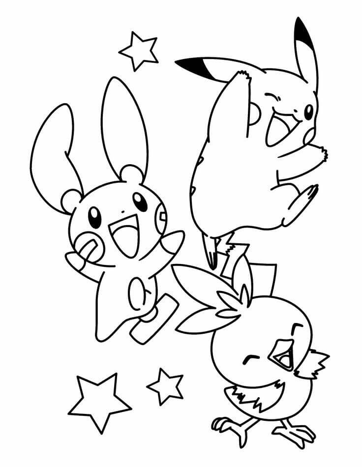 Pikachu, Pichu and Torchic Pokemon Coloring Sheets
