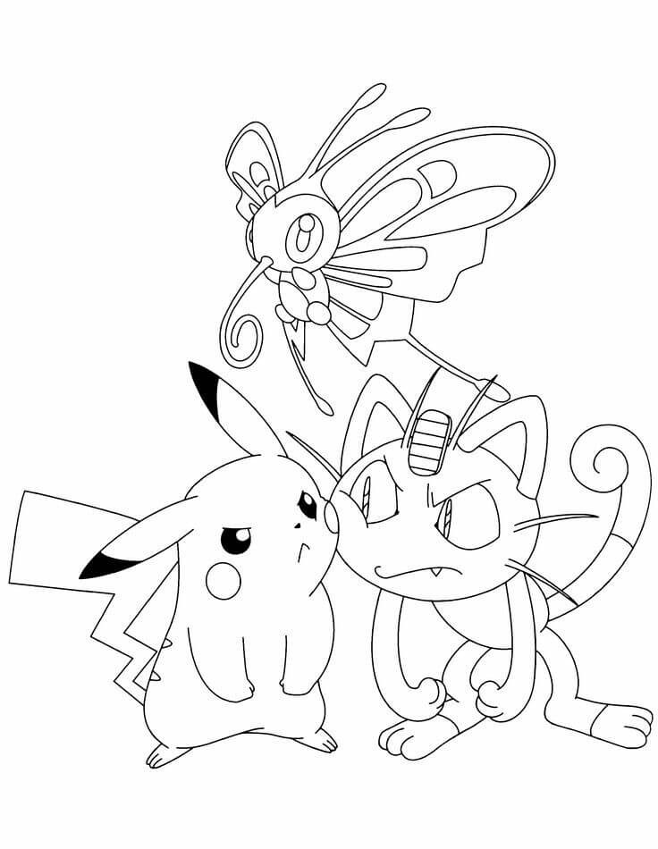 Pikachu and meowth pokemon coloring pages