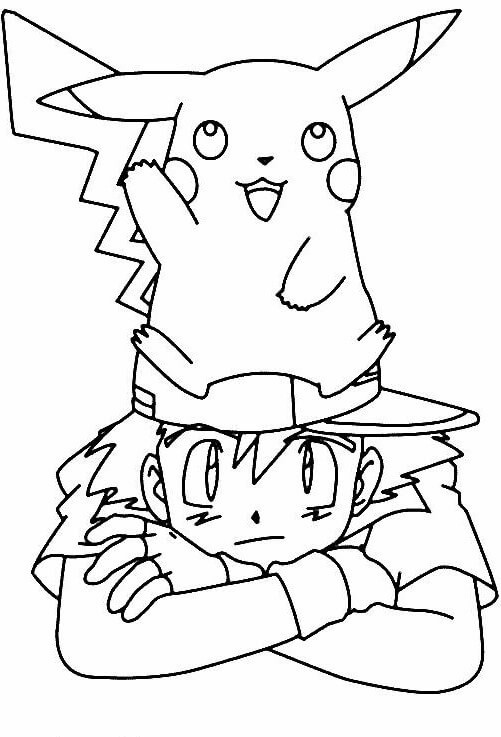 Pikachu And Ash Pokemon Coloring Pages