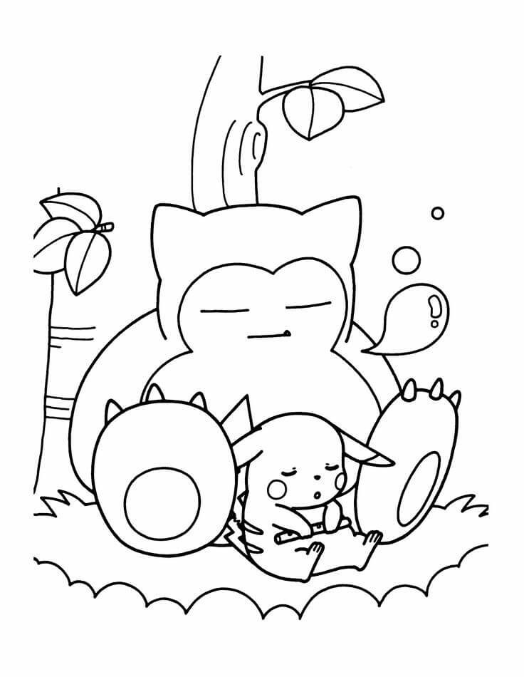 Pokemon snorlax and pikachu coloring pages