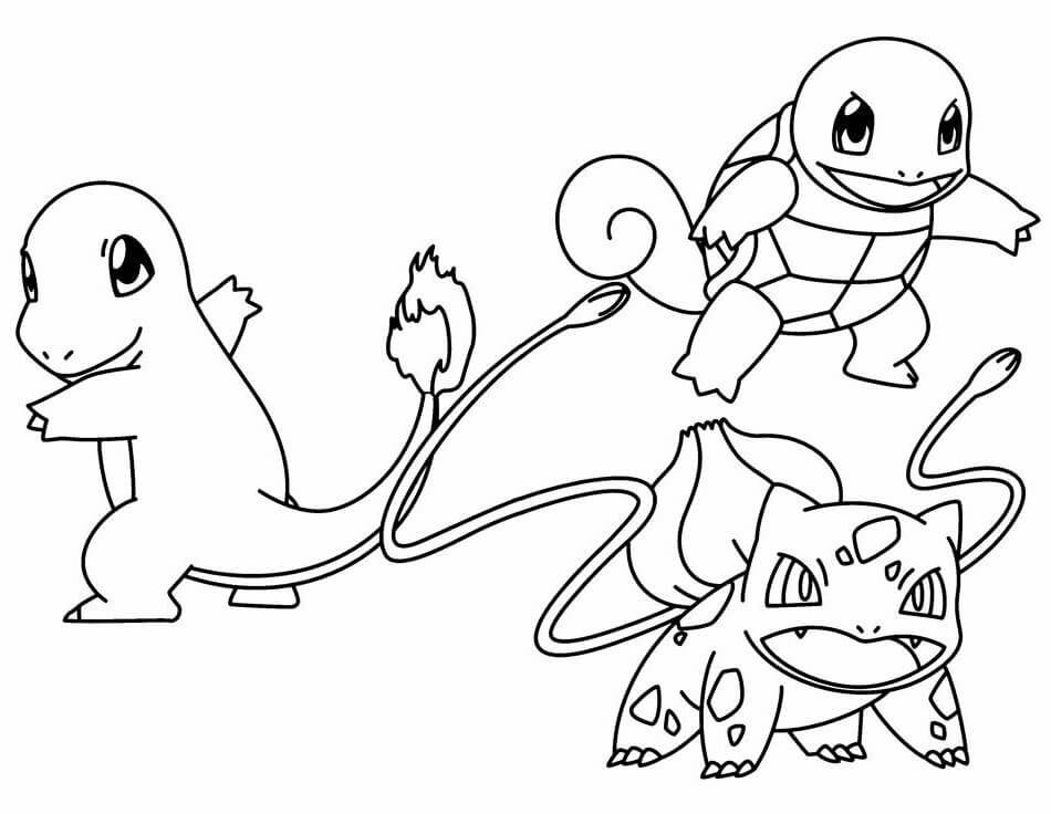 Bulbasaur squirtle and charmander pokemon coloring pages