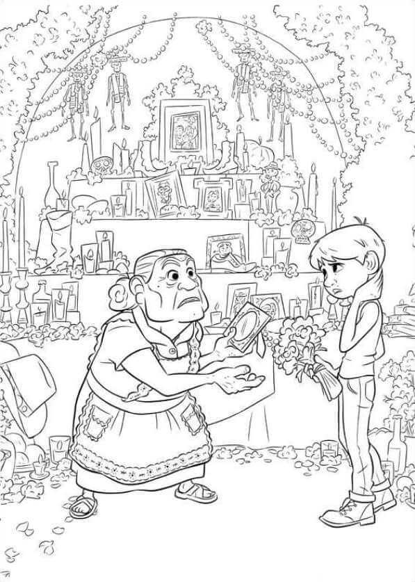 Abuelita and Miguel Coco Coloring Page
