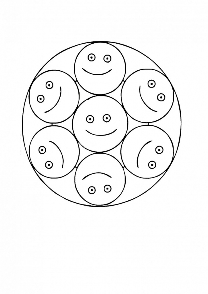 Smiley Mandala Coloring Page