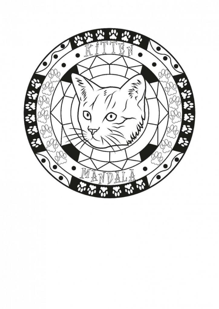 Kitten Mandala Coloring Page